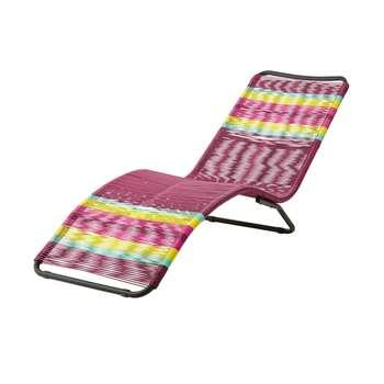 COPACABANA Multicoloured Resin Wicker Sun Lounger - Pink/Yellow (70.5 x 60 x 170cm)