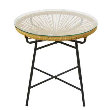 COPACABANA Mustard Yellow Resin and Glass Garden Coffee Table (H50 x W52 x D52cm)