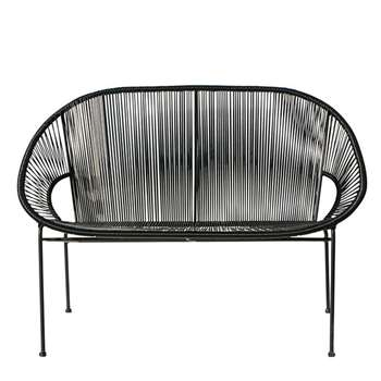 COPACABANA Stackable 2/3-seater garden bench in resin string and black metal (81 x 118cm)