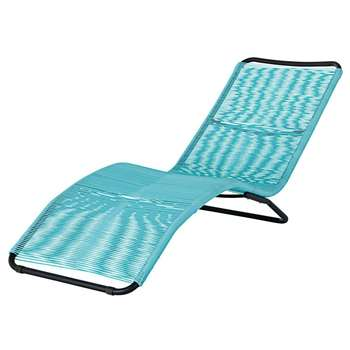 COPACABANA Black Metal and Blue Resin String Sun Lounger (72 x 61 x 168cm)