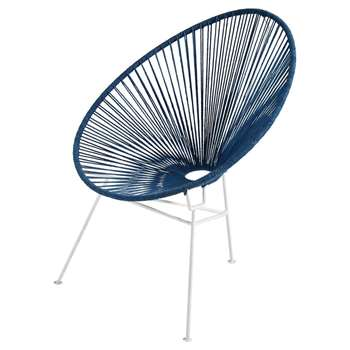 COPACABANA White Metal and Blue Cotton Cord Armchair (86 x 68cm)