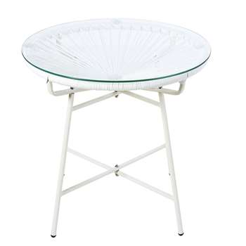 COPACABANA White Resin and Glass Garden Coffee Table (H50 x W52 x D52cm)