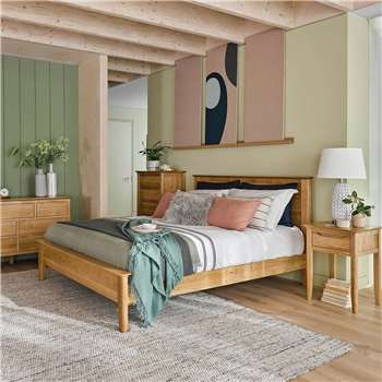 Copenhagen Natural Solid Oak Double Bed (H105 x W149 x D208cm)