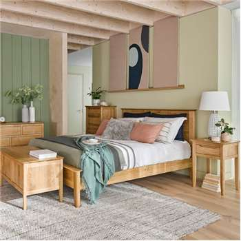Copenhagen Natural Solid Oak King-Size Bed (H105 x W165 x D218cm)