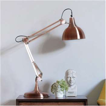 Copper Angled Table Lamp (H80 x W20cm)