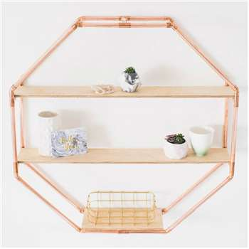 Copper Octagon Shelf Wall Hanging (76 x 76cm)