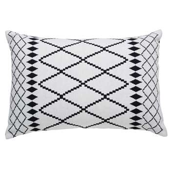 CORA white cotton cushion with black motifs (40 x 60cm)