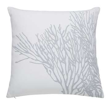 CORAL white and grey cotton cushion (45 x 45cm)