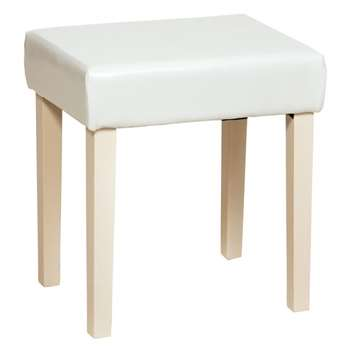 Core Products Stool in Faux Leather, Cream with Cream Colour Legs (H48 x W43 x D33.5cm)