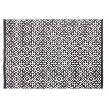 COROLIA Outdoor Rug with Black and White Graphic Print (H160 x W230cm)