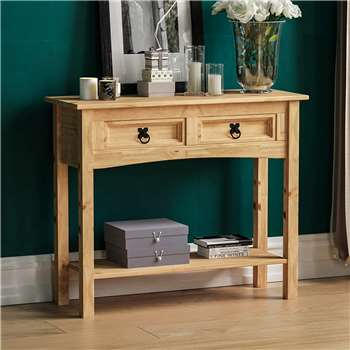 Amazon Brand - Movian Corona Console Table, 2 Drawer With Shelf, Solid Pine Wood (H70 x W83 x D31cm)