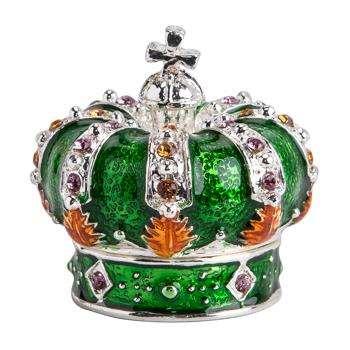 Coronet Jewelled Box - Green (4 x 3cm)