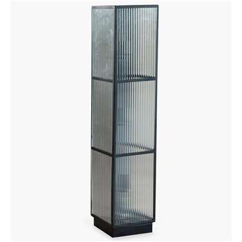 Corrugated Glass Floor Lamp - Black (H101.5 x W22 x D22cm)