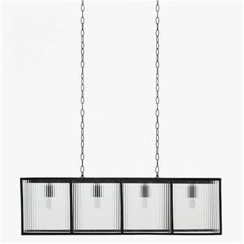 Corrugated Glass Large Pendant Light - Black (H135 x W100 x D20cm)