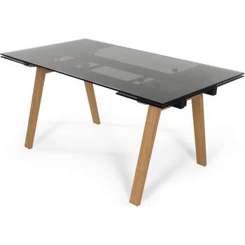 Cosgrove Extending Dining Table, Glass and Ash (76 x 160-230cm)