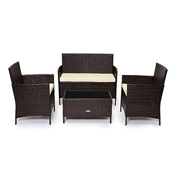 CosmoLiving 4 Piece Rattan Garden Furniture Set, Brown