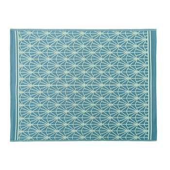 COSTA Blue Outdoor Rug with White Graphic Print (H150 x W200cm)