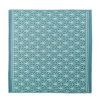 COSTA Blue Outdoor Rug with White Graphic Print (H180 x W180cm)