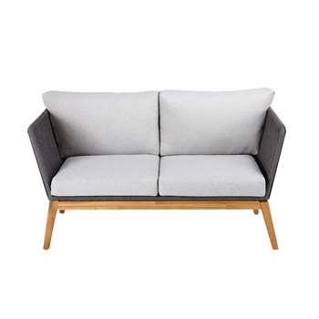 COSTA RICA Anthracite Grey 2-Seater Woven Cord Garden Sofa (73 x 145cm)