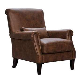 Costello Brown Fabric Accent Chair (H96 x W82 x D93cm)