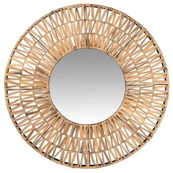 COTONOU - Round Plant Fibre Mirror (Diameter 80cm)