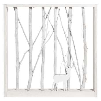 COTTAGE Bleached Poplar Deer Light-Up Artwork (H43 x W43 x D5cm)