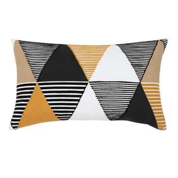 OREGON - Cotton Cushion Cover with Multicoloured Triangle Print (H30 x W50cm)