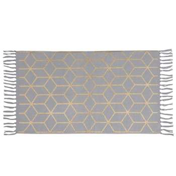 STELLA Cotton Rug with Grey and Gold Graphic Print (H50 x W80cm)