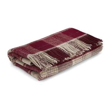Cranbourne Cranberry Wool Throw (180 x 140cm)