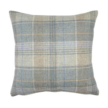 Cranbourne Duck Egg Check Wool Cushion