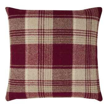 Cranbourne Wool Check Cushion Cranberry