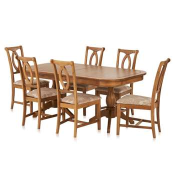 Crawford Rustic Solid Oak 6ft Extending Dining Table with 6 Crawford Chairs (H76 x W180 x D100cm)