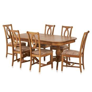 Crawford Rustic Solid Oak 6ft Extending Dining Table with 6 Crawford, Check Brown (H76 x W180 x D100cm)