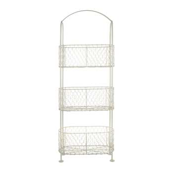 Cream Free Standing 3 Tier Storage Baskets (23 x 30.5cm)