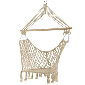 Cream Macrame Box Hanging Chair (H191 x W50 x D50cm)