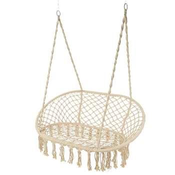 Cream Macrame Double Hanging Garden Seat (H153 x W130 x D82cm)