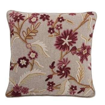 Crewelwork Cushion Cherry/Gold (45 x 45cm)