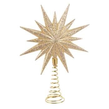 CRISTAUX CHAMPAGNE- Gold Glitter Star Christmas Tree Topper (H16 x W11.5cm)