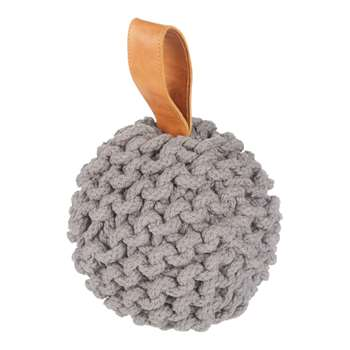 Croft Collection Chunky Knit Door Stop, Grey (H15 x W15 x D15cm)