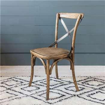 Cross Back Dark Oak Dining Chair (89 x 45cm)