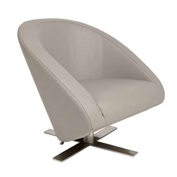 Cross base leather armchair light grey (76 x 78cm)