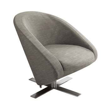 Cross base swivelling armchair mocha (76 x 78cm)