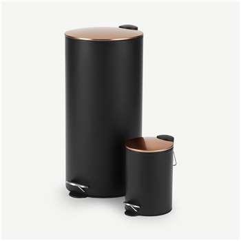 Cross Flat Top 27L & 3L Pedal Bin, Black & Copper (H60 x W30 x D30cm)