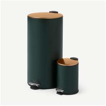Cross Flat Top Pedal Bin, 27L & 3L, Forest Green & Copper (H60 x W30 x D30cm)