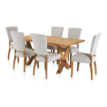 Crossley Dining Set - 6ft Table with 6 Plain Grey Upholstered Curve (H76 x W180 x D90cm)