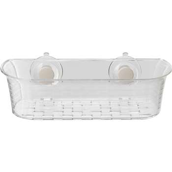 Croydex Press 'n' Lock 1.2 Litre Storage Basket - Clear (7.5 x 28.5cm)