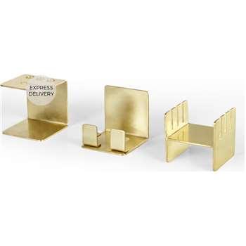 Cubic Desk Organiser, Brass (H10 x W10 x D10cm)