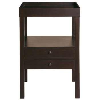 Cubist Dark-Wood Bedside Table  - Brown (71 x 45cm)
