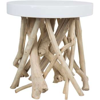 Cumi Lounge Side Table in Contemporary Glossy White with Mango Wood (Diameter 45cm)