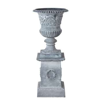 Cup on Whitewashed Grey Base, Grey (H108.5 x W45 x D45cm)